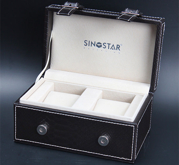 Empty Double Watch Box Black Leather Elegant Style Wooden Watch Storage For Gift Packing